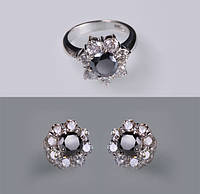 Кольцо и серьги с черными бриллиантами С19Л1№20-21