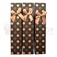 Коробочка подарочная для цепи или браслета Черная с золотистым узором 21х4,5х3см