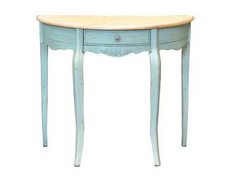 Столик полукруглый в стиле Прованс из натурального дерева оливкового цвета(90*39*78см).