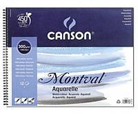 Склейка для акварели Canson Montval на пружине А4 (21х30см) 300 г/м2 12 листов (200807160)