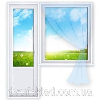 Окна Стандарт. Балконный блок. 1300*1400,700*2100 3 камеры, 2 стекла с доставкой