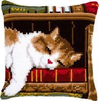 """PN-0146409 Набор для вышивки крестом Vervaco Cat sleeping on bookshelf """"Спящий кот на книжной полке"""""""