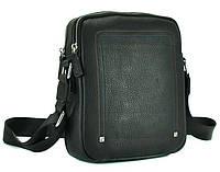 Кожаная сумка-мессенджер Norfolk черная (00601)