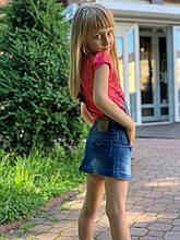 Детская джинсовая юбка для девочек, синий, 92-116