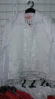 Блузка для девочки 7-11 лет белого цвета с кружевом оптом оптом
