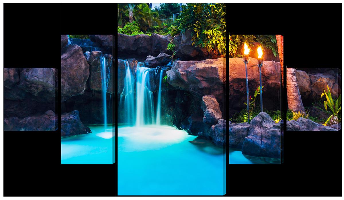 Модульная картина  Водопад тропики