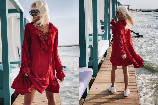 """Асимметричное расклешенное платье """"SOFER"""" с оборками (3 цвета), фото 2"""
