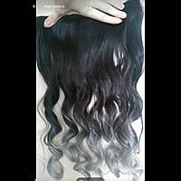 Волосы на заколках чёрные волнистые