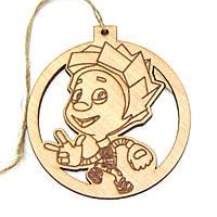 Игрушка на елку деревянная - шарик Нолик