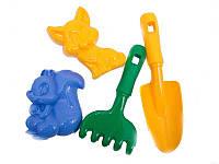 Детский песочный набор: лопатка, грабли, две большие куличи