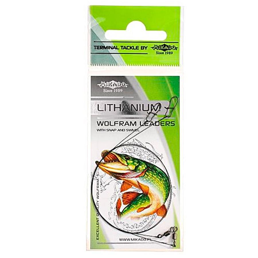 Поводок вольфрамовый с застежкой Mikado Wolfram FS 35см 10кг 2шт.