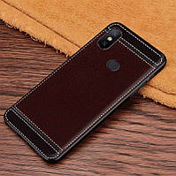 Чехол Litchi для Xiaomi Mi Mix 3 силикон бампер с рифленой текстурой темно-коричневый