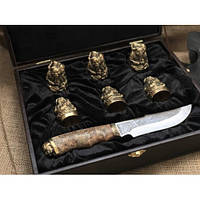Набор бронзовых чарок Козаки с ножом, фото 1