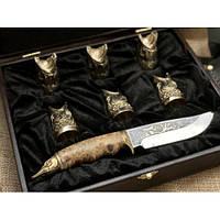 Набор бронзовых чарок Царский улов с ножом, фото 1