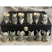 Набор бронзовых чарок Охотничьи  12 штук, фото 1