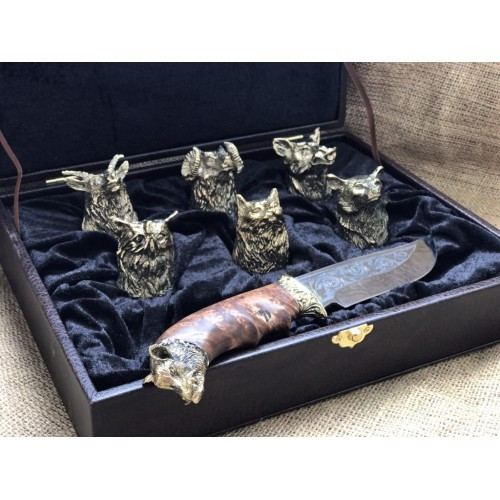 Набор 6 чарок Охотничьих с ножом