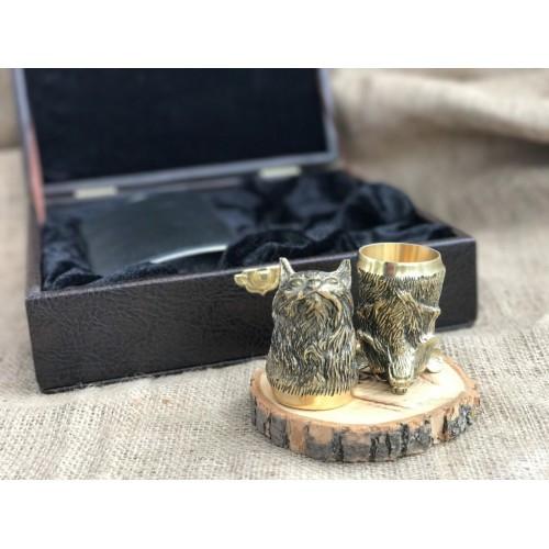 Охотничьи чарки из бронзы с флягой
