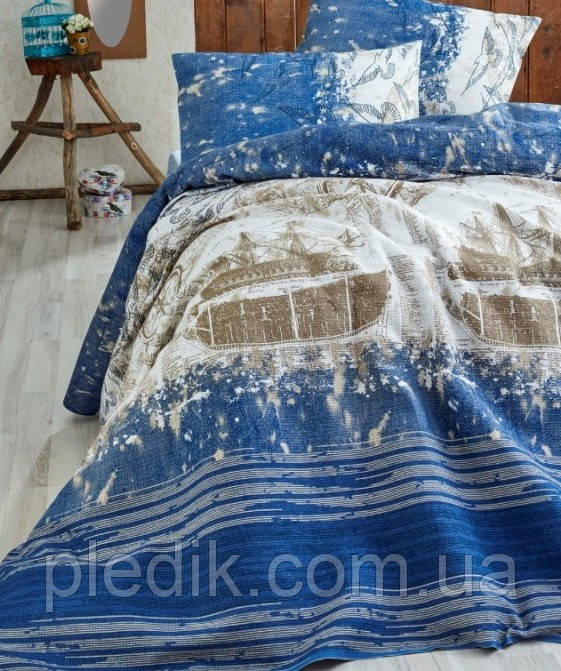 Простынь Пике 200х235 EPONJ HOME Pusula k.mavi голубой