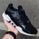 Мужские кроссовки Adidas EQT Support ADV черные с белым летние в сетку. Живое фото (Реплика ААА+), фото 2