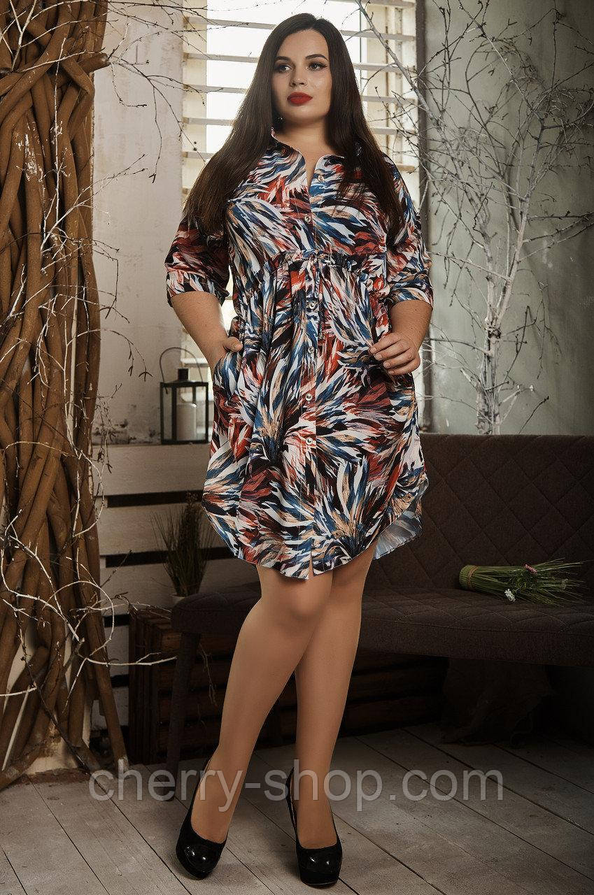 Легке літнє батальне сукню в гарний візерунок
