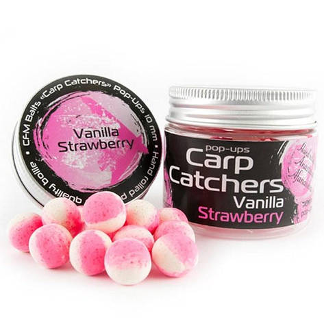 "Бойлы pop-up Carp Catchers ""Vanilla Strawberry"" 10mm, фото 2"