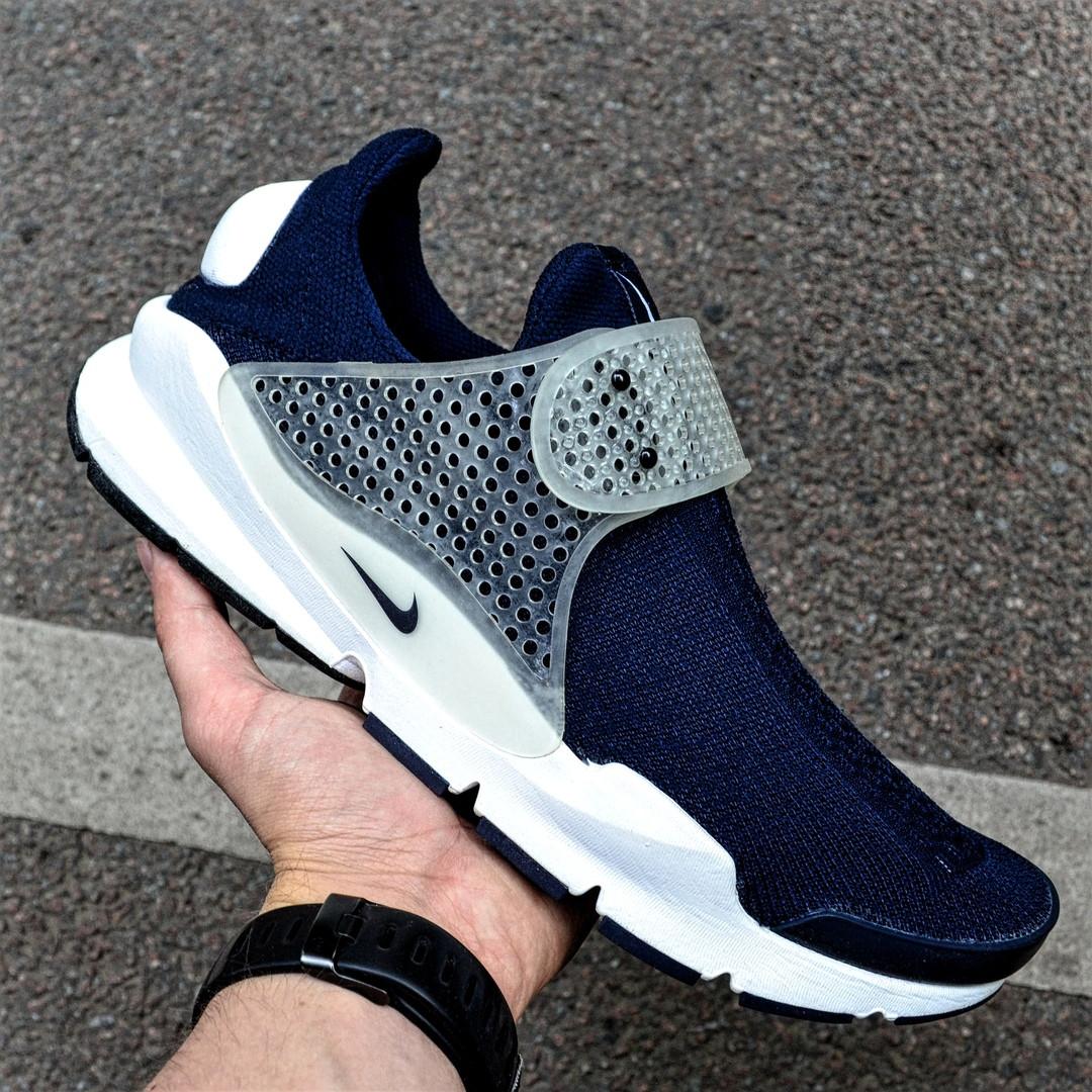 Мужские кроссовки Nike Sock Dart Blue&White синие с белым летние. Живое фото (Реплика ААА+)