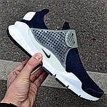 Мужские кроссовки Nike Sock Dart Blue&White синие с белым летние. Живое фото (Реплика ААА+), фото 2