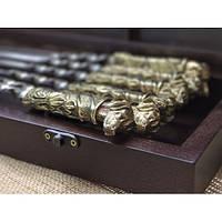Комплект шампуров Верный друг  в кейсе из натурального дерева, фото 1