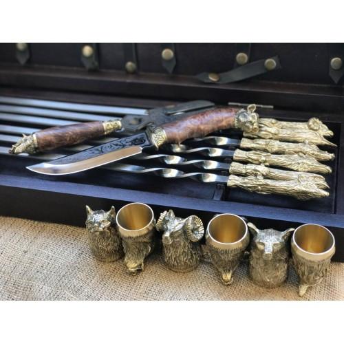 Охотничий трофей Эксклюзивный набор для шашлыка.Шампура+рюмки+нож+вилка