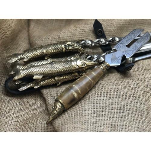 Шампура подарочные Царская охота с вилкой для снятия мяса