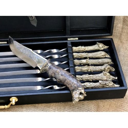 Набор шампуров Охотничий трофей  с ножом в кейсе