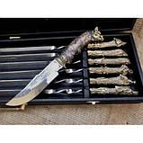 Набор шампуров Охотничий трофей  с ножом в кейсе, фото 3