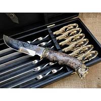 Набор шампуров Кабан  с ножом в кейсе