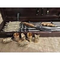 Царский улов  Эксклюзивный набор для шашлыка.Шампура+рюмки+нож+вилка, фото 1