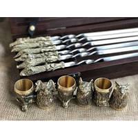 Комплект шампуров Охотничий трофей  с рюмками в кейсе из натурального дерева, фото 1