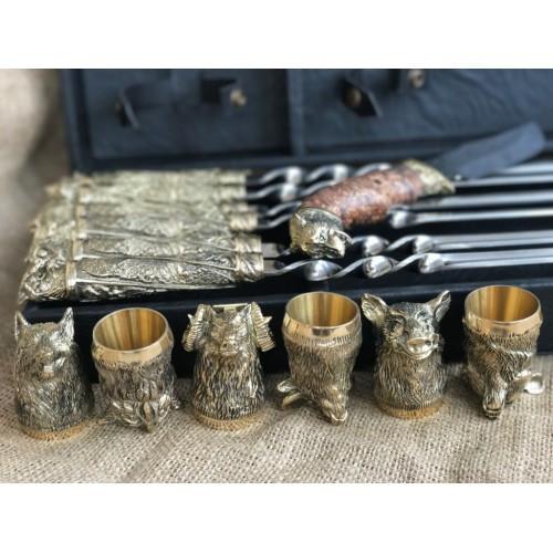 VIP-Набор шампуров Дикие звери нож +6 рюмок