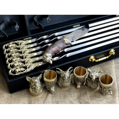 VIP-Набор шампуров Гранд нож +6 рюмок