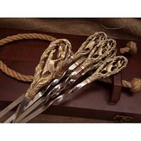 Комплект шампуров Соколиная охота в кейсе из натурального дерева, фото 1