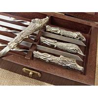 Комплект шампуров Охотничий трофей  в кейсе из натурального дерева, фото 1