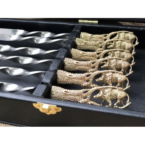 Набор шампуров Дикий кабан в кейсе