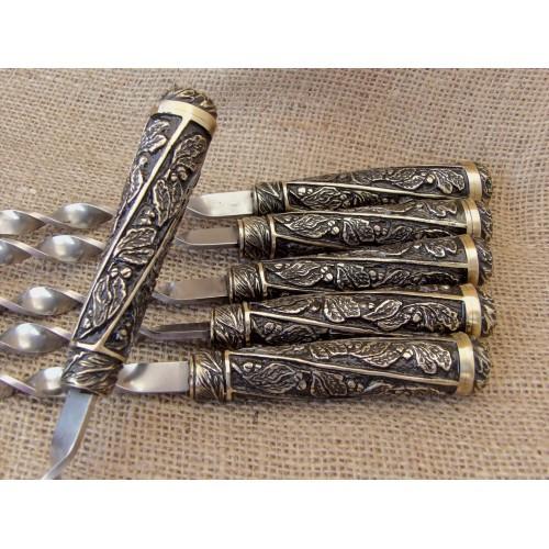 Шампура подарочные Лукоморье в колчане из натуральной кожи