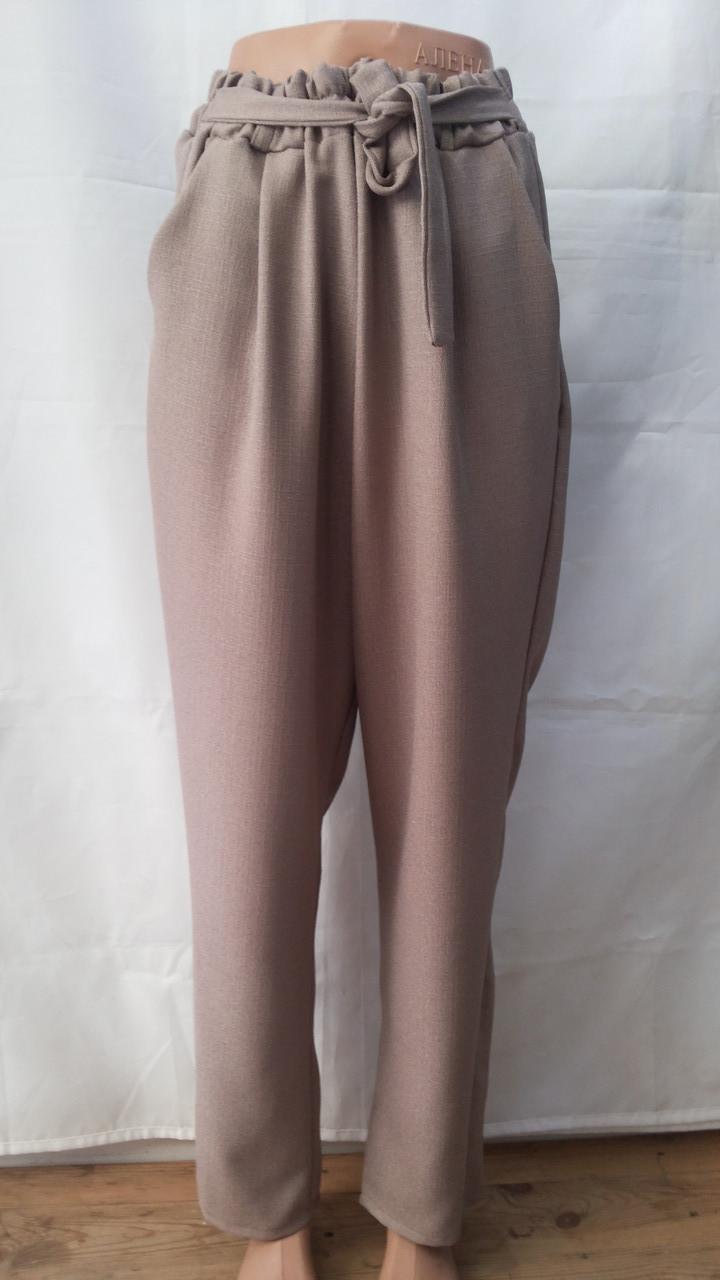 Летние женские брюки султанки лён
