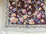 Улыбка принцессы 1596-16, павлопосадский платок (крепдешин) шелковый с подрубкой, фото 3