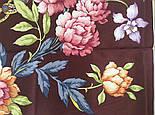 Улыбка принцессы 1596-16, павлопосадский платок (крепдешин) шелковый с подрубкой, фото 5