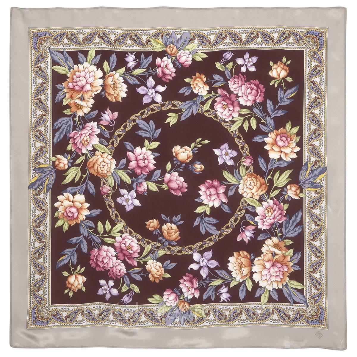 Улыбка принцессы 1596-16, павлопосадский платок (крепдешин) шелковый с подрубкой