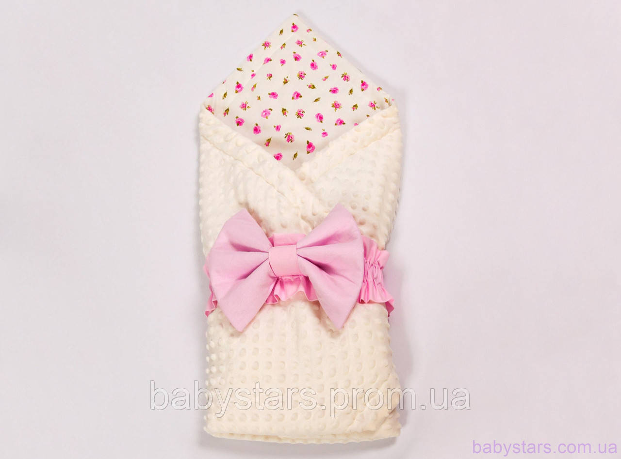 Конверты для новорожденных на выписку лето 78х85см, Розовые розочки с розовым бантом на молочном плюше