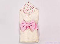 Конверты для новорожденных на выписку лето 78х85см, Розовые розочки с розовым бантом на молочном плюше, фото 1