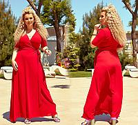 Яркое летнее платье длинное на запах, 48-62 размер, фото 1