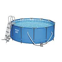 Каркасный бассейн для дачи Bestway 56420 (366х122) круглый с комплектом фильтрации (насос + фильтр), фото 1