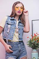 Женская джинсовая жилетка на лето с декором и карманами 1743 blZH38, фото 1